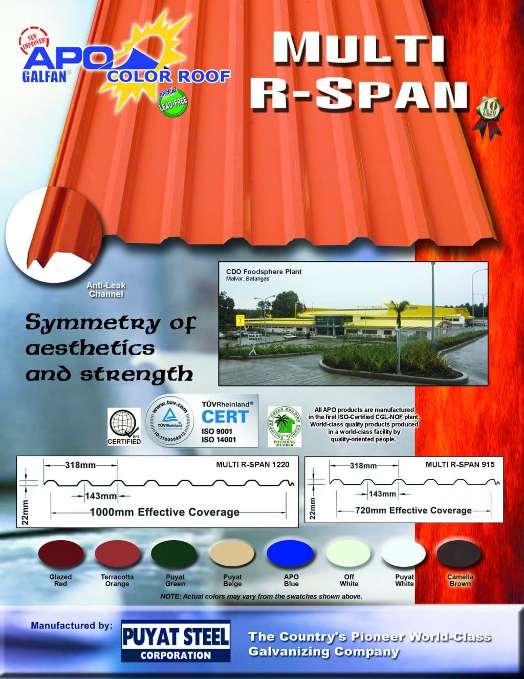 Puyat Steel Corporation Apo Longspan Color Roofs
